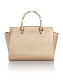 Selma gold metallic large tote bag