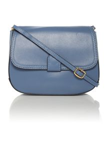 Smooth small blue flap over cross body bag