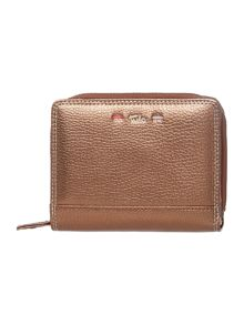 Violet brown zip around purse