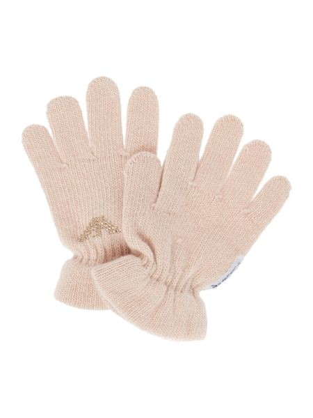 Armani Junior Girls Cashmere Blend Gloves With Embellished Eagl