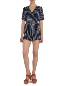 Short Sleeved V Neck Striped Playsuit