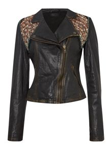 Updated embellished leather jacket