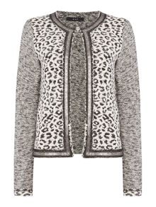 Oui Leopard print tweed sleeve jacket