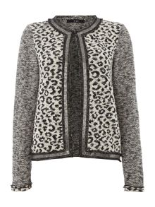 Leopard print tweed sleeve jacket