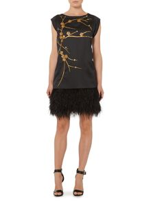 Biba Gold embellished real feather tie back dress
