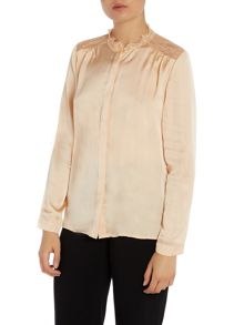 Y.A.S. Long sleeve sheer panel blouse
