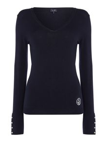Long sleeve v neck logo jumper with pearl cuff