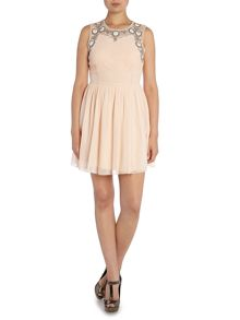 Lace and Beads Embroidered Top Fit and Flare Dress