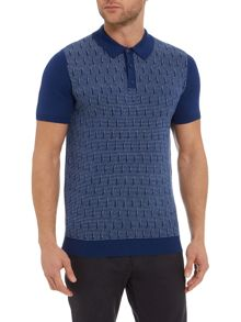 Optic circular geo knitted polo