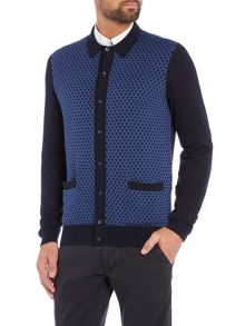 Geo polo knitted cardigan