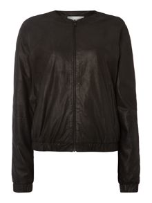 Lila leather bomber jacket