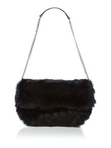 Tyra black fur shoulder bag