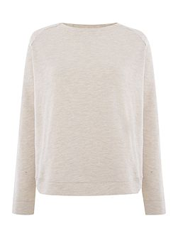 Huisa long sleeve sweat top in cameo rose