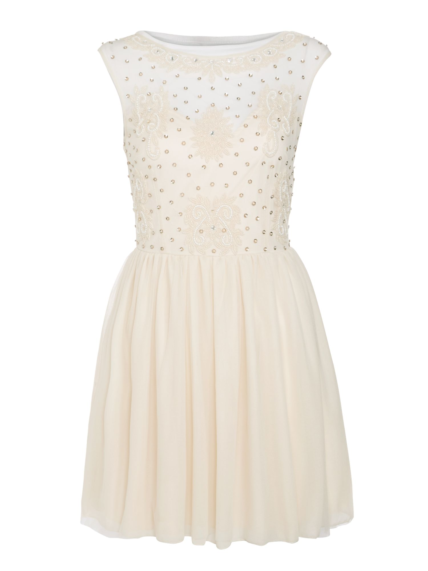 Lace And Beads Sleeveless Mesh Top Fit And Flare Dress, Cream