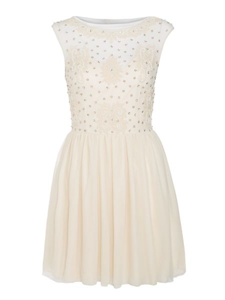Lace and Beads Sleeveless Mesh Top Fit and Flare Dress