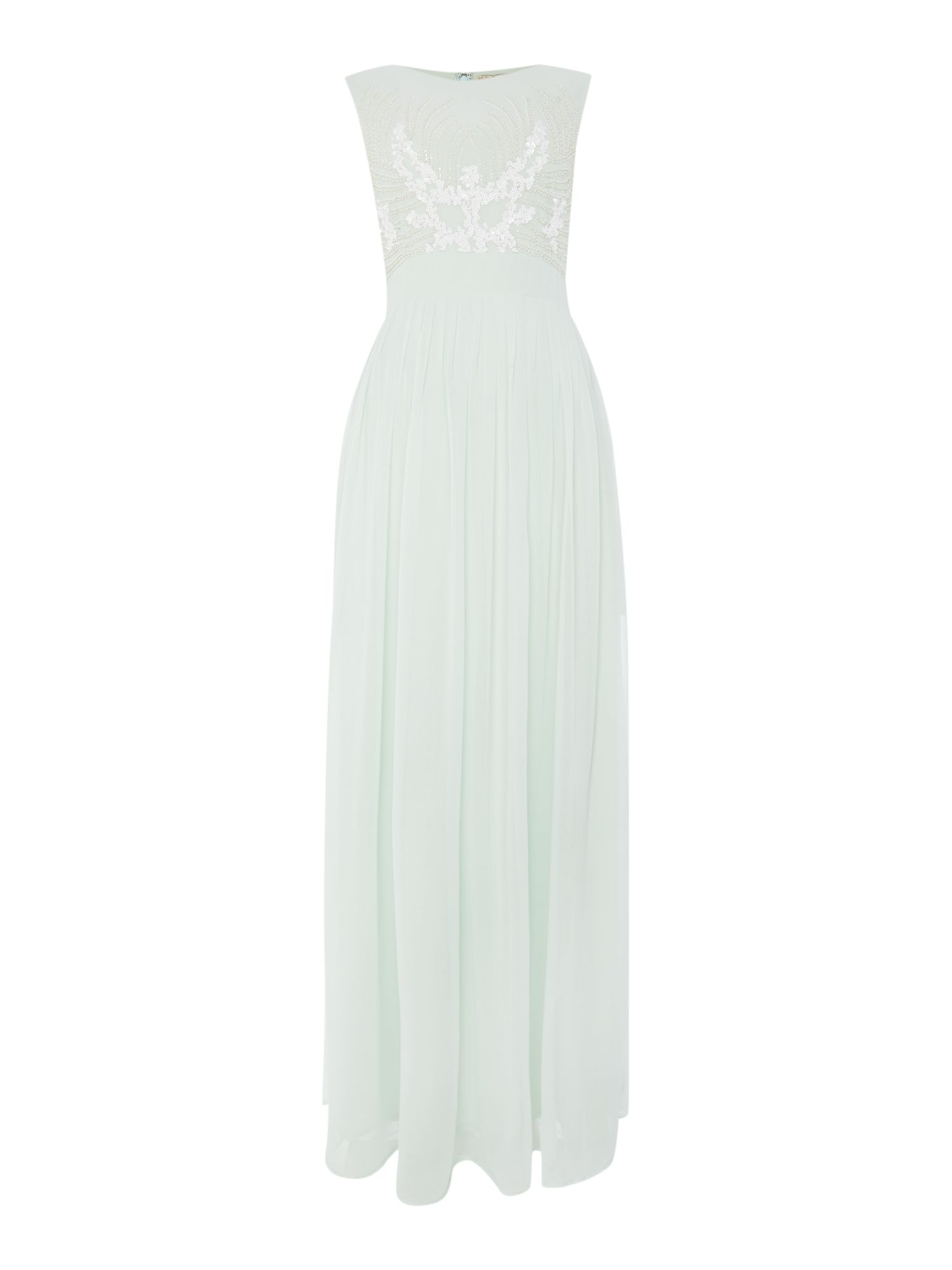 Lace and Beads Sleeveless Beaded Top Maxi Dress