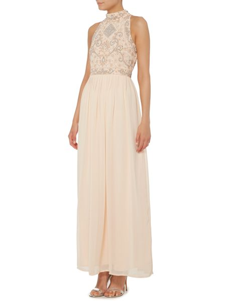 Lace and Beads Sleeveless High Neck Beaded Top Maxi Dress