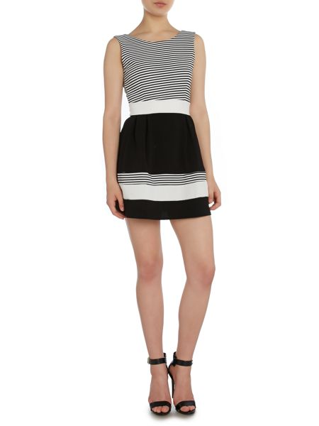 Wal-G Sleeveless Round Neck Striped Banded Dress