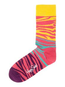 Happy Socks Block Zebra Print Socks