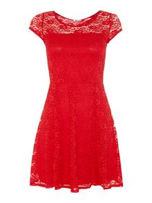Cap Sleeve Lace Fit and Flare Dress