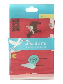 Girls 2 Pack Cotton Muslin Squares