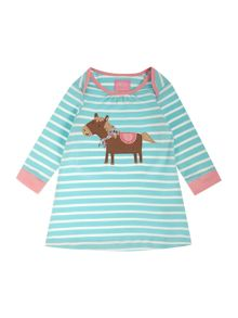 Girls Horse Logo Striped Long Sleeved Dress