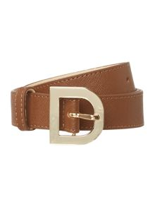 DKNY Saffiano leather brown belt with d-ring buckle