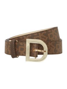 DKNY Saffiano leather multi belt with d-ring buckle