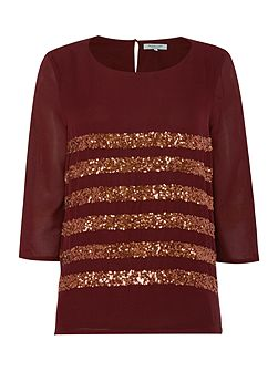 Sequin Stripe Boxy Top