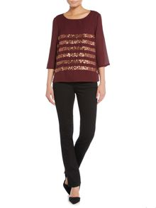 Dickins & Jones Sequin Stripe Boxy Top