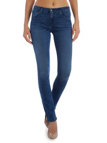 Mid rise slim jean in satin mid stretch