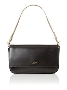 Hepburn small black flapover shoulder bag