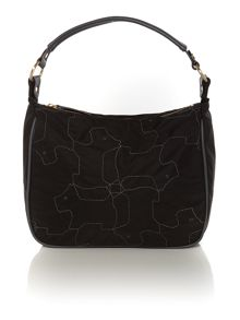 In stiches medium black shoulder bag