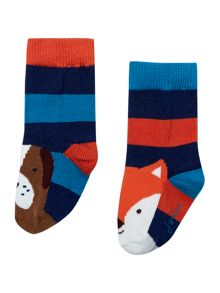 Boys Fox And Hound Striped Socks