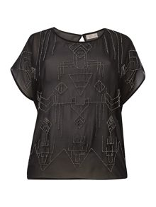 Plus size tribal beaded woven top