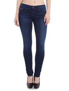 Mid rise skinny jean in satin dark stretch