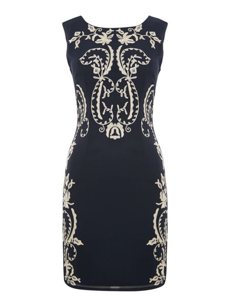 Lace and Beads Sleeveless Embroidered Bodycon Dress