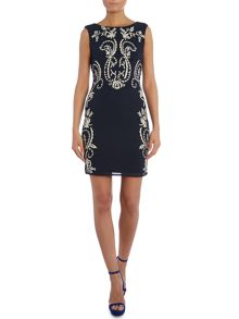 Sleeveless Embroidered Bodycon Dress