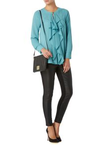 Frill front button detail blouse