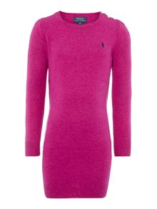 Girls Classic Knitted Dress With Elbow Patches An