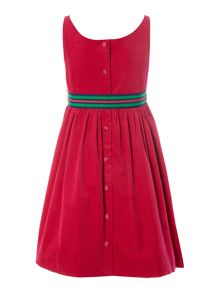 Girls Sleeveless Cord Dress With Ribbon Belt