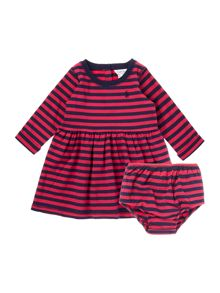 Newborn Girls Long Sleeved Striped Dress With Sma