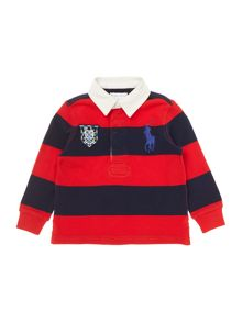 Newborn Boys Long Sleeved Rugby With Big Pony Pla