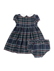 Newborn Girls Plaid Check Cap Sleeve Dress With P