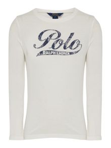 Girls Long Sleeved Polo Logo T-Shirt