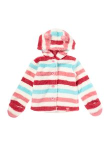 Joules Girls Striped Hooded Button Through Fleece With E
