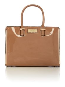 Neutral patent tote bag