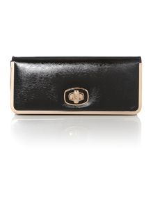 Black patent saffiano clutch bag