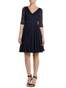 Untold 50`s style lace dress with 3/4 sleeves