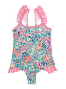 Girls Floral Ruffle Swimsuit